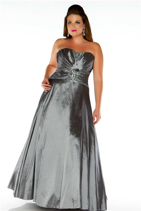 A Line Strapless Long Charcoal Grey Taffeta Beaded Plus