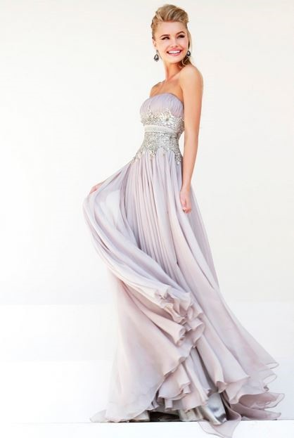 A Line Strapless Long Grey Chiffon Draped Beading Evening