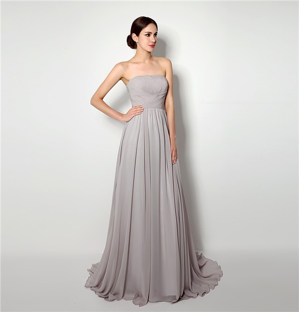 A Line Strapless Long Grey Chiffon Ruched Corset