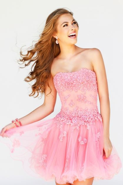A Line Strapless Short Pink Tulle Lace Floral Sweet 16