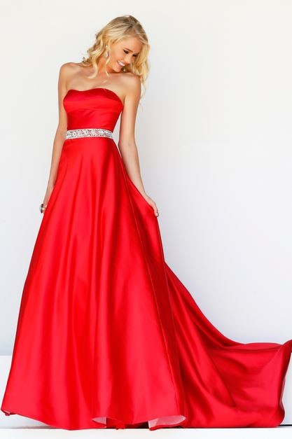 A Line Strapless Sweetheart Long Red Satin Prom Dress With