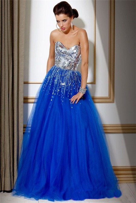 A Line Strapless Long Royal Blue Tulle Sequin Evening Prom
