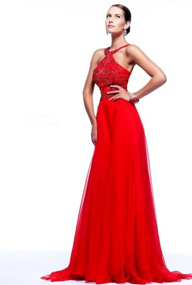 A Line Straps Low Back Long Red Chiffon Beading Evening