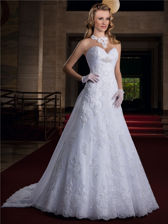 A Line Sweetheart Empire Waist Lace Glitter Wedding Dress