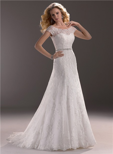A Line Sweetheart Lace Wedding Dress With Short Sleeve