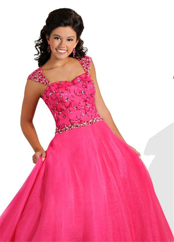 A Line Sweetheart Long Hot Pink Tulle Beaded Teen Prom