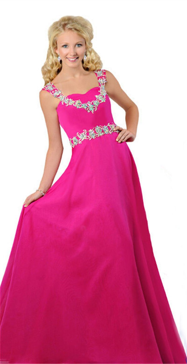 A Line Sweetheart Open Back Long Hot Pink Chiffon Beaded