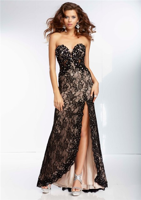 A Line Sweetheart Sheer See Through Corset Long Black Lace