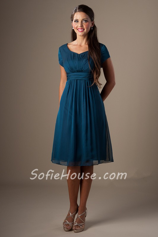 A Line Sweetheart Short Sleeves Teal Chiffon Modest Party