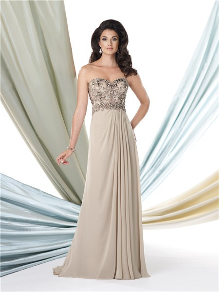A Line Sweetheart Taupe Chiffon Beaded Mother Of The Bride