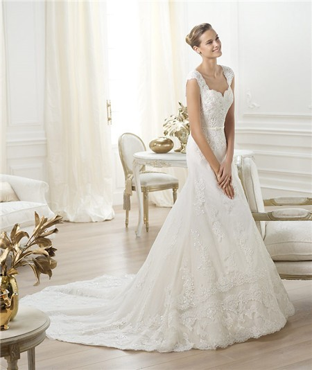 Sweetheart Wedding Dress With Cap Sleeves: A Line Sweetheart V Back Cap Sleeve Beaded Lace Wedding