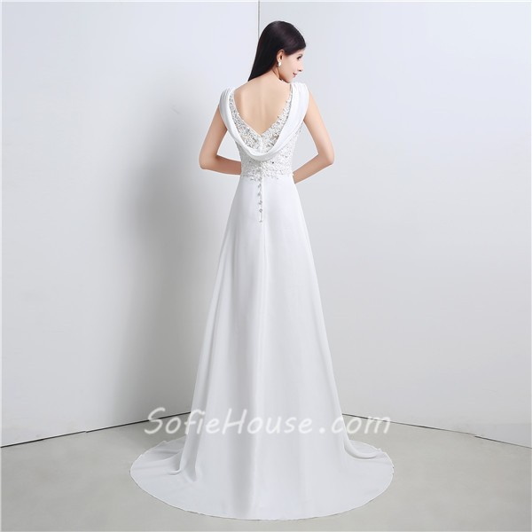 Cowl Neck Bridal Gown: A Line V Neck Cowl Back Chiffon Lace Wedding Dress With