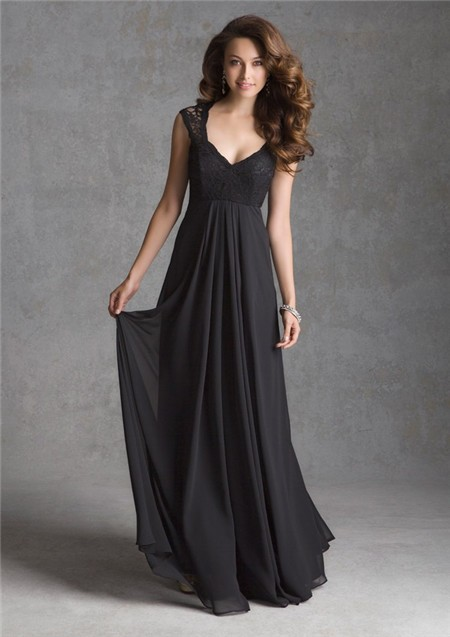 A Line V Neck Illusion Back Long Black Chiffon Lace Wedding Guest Bridesmaid Dress