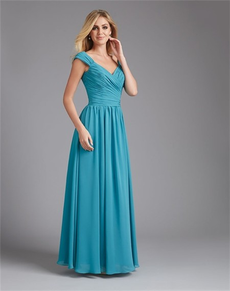 A Line V Neck Long Teal Blue Chiffon Ruched Wedding Guest