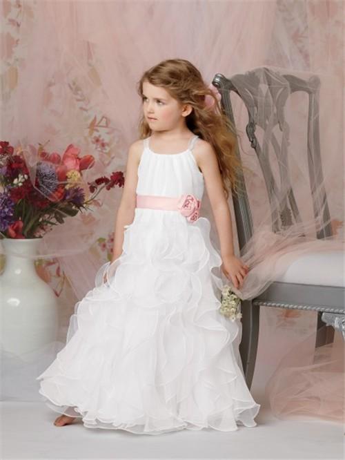 A Line Princess Scoop Floor Length White Organza Flower