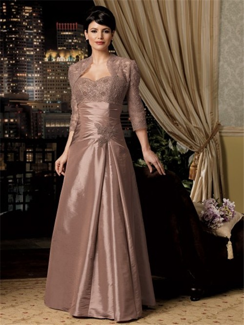 A Line Long Brown Taffeta Lace Mother Of The Bride Dress