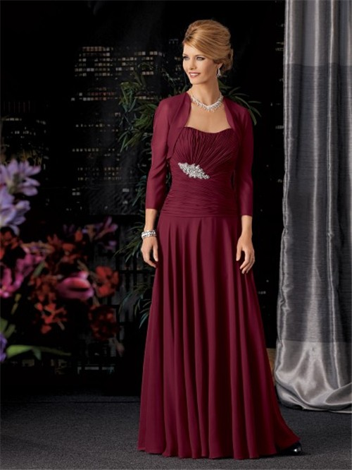A Line Long Burgundy Chiffon Mother Of The Bride Dress