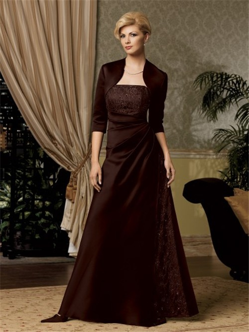 A Line Long Chocolate Brown Satin Mother Of The Bride