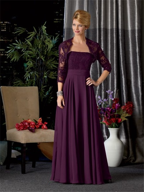 A Line Long Purple Chiffon Lace Mother Of The Bride Dress
