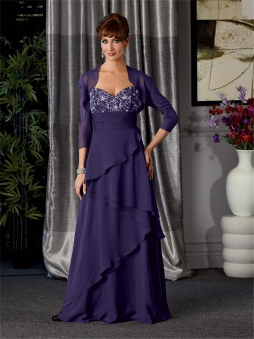 A Line Long Royal Blue Chiffon Beaded Mother Of The Bride
