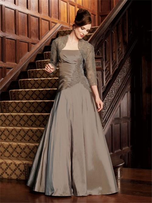 a line strapless long brown taffeta mother of the bride