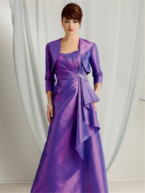 Line Sweetheart Floor Length Purple Taffeta Mother