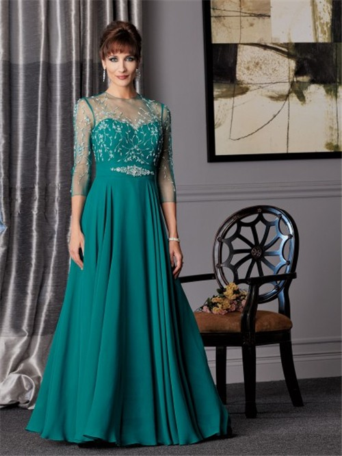 A Line Sweetheart Long Jade Chiffon Mother Of The Bride