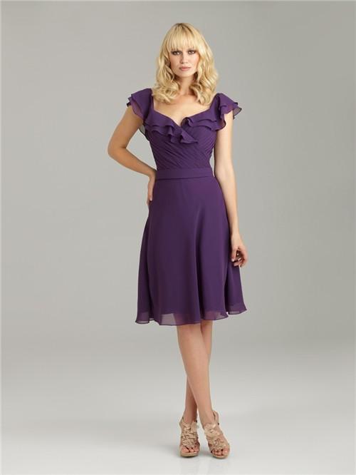 A Line V Neck Knee Length Short Purple Chiffon Bridesmaid