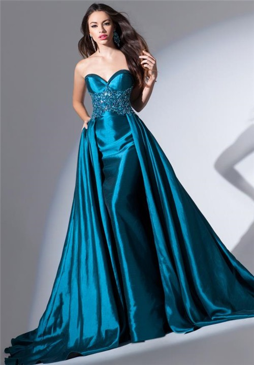 Amazing Strapless Sweetheart Long Teal Blue Taffeta Beaded