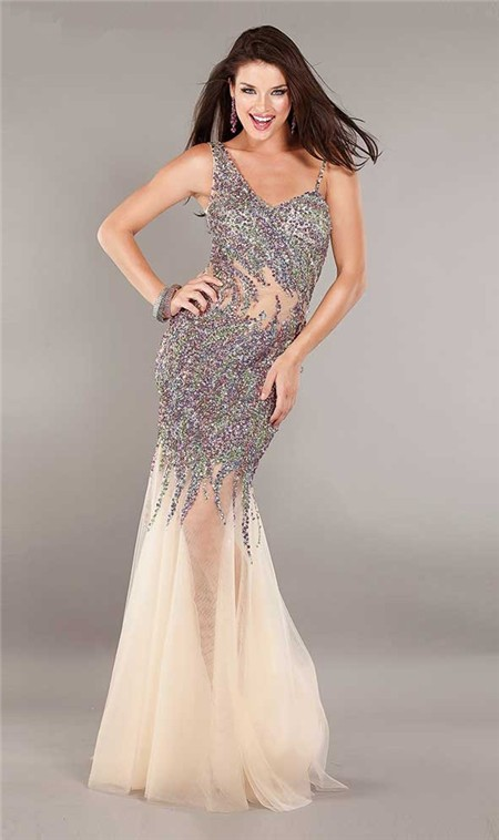 Asymmetrical Mermaid Open Back Champagne Tulle Beaded See