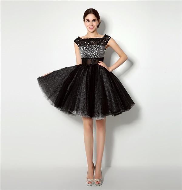 Ball Gown Bateau Neck Short Black Tulle