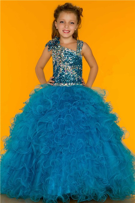 Ball Gown Blue Sequin Beaded Puffy Tulle Little Girl