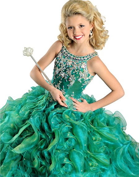 Ball Gown Emerald Green Organza Ruffle Beaded Little Girls