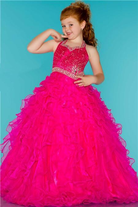 Ball Gown Halter Hot Pink Ruffle Beaded Cute Little Flower