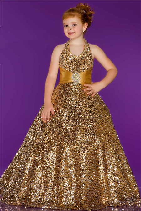 Ball Gown Halter Long Gold Sequin Little Girl Evening Prom