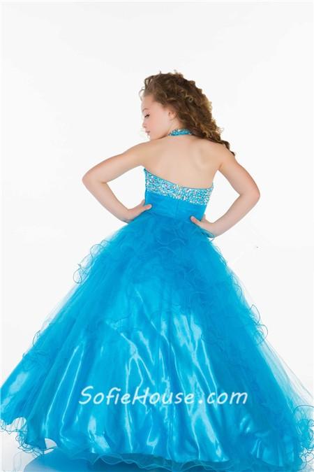 Ball Gown Halter Long Turquoise Tulle Beaded Little Flower