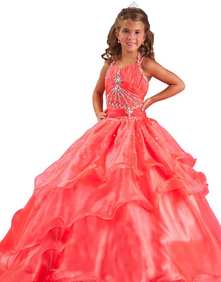 Ball Gown Halter Watermelon Red Organza Ruffle Beaded