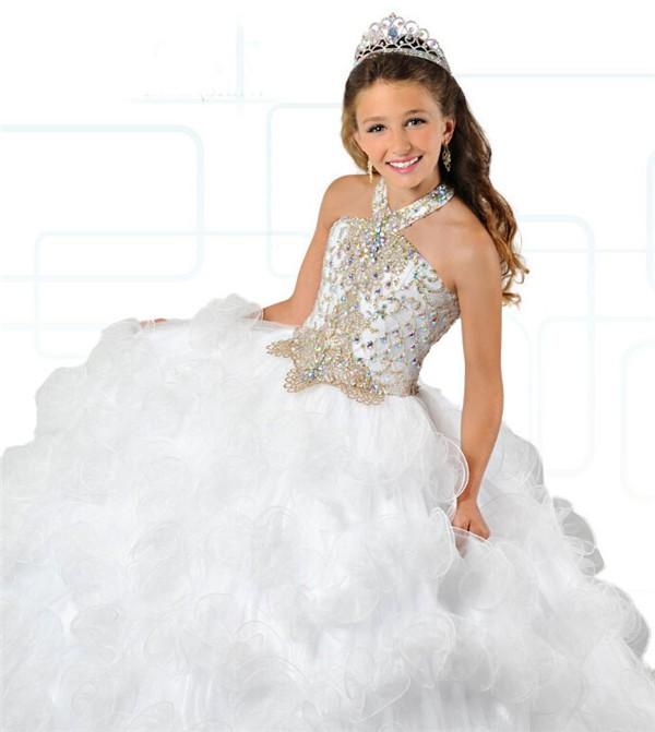 Ball Gown Halter White Tulle Ruffle Beaded Puffy Girl