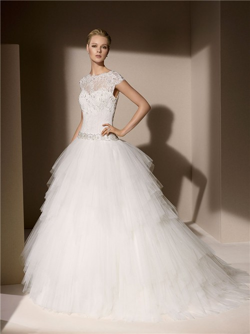 Ball Gown High Neck Cap Sleeve Layered Tulle Lace Wedding