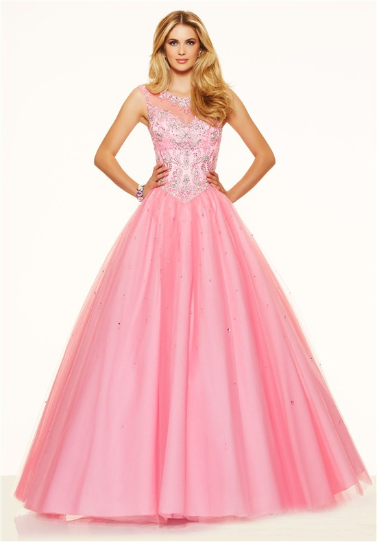 Ball Gown Illusion Neckline Open Back Corset Light Pink