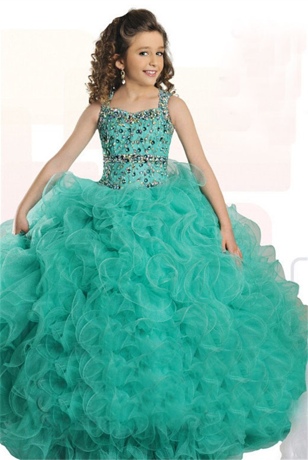 Ball Gown Mint Green Tulle Ruffle Beaded Girl Pageant Prom