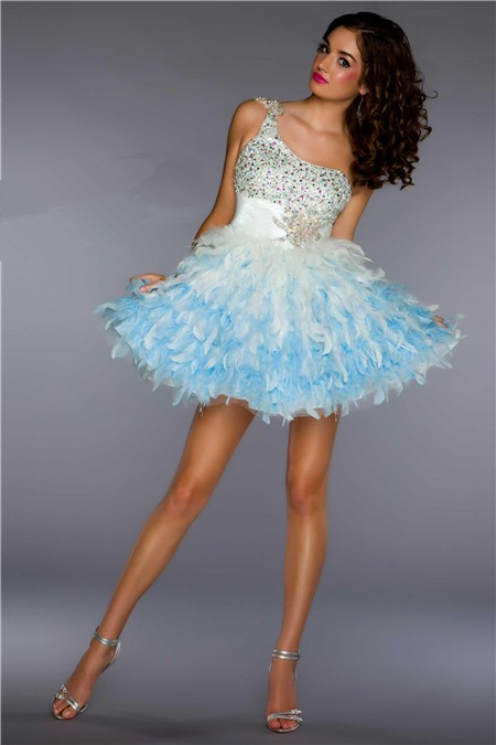 Ball Gown One Shoulder Short Mini White Blue Beaded