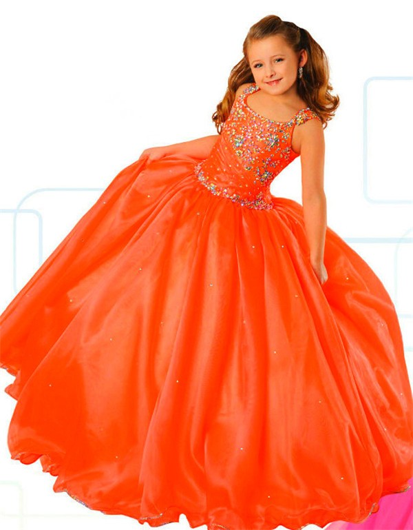 Ball Gown Orange Organza Beaded Puffy Girl Pageant Prom
