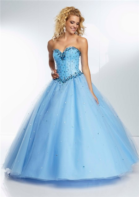 Ball Gown Princess Sweetheart Light Sky Blue Tulle Beaded