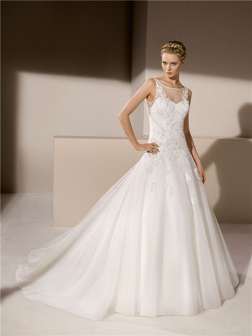 Ball Gown Sheer Illusion Boat Neckline Tulle Lique Beaded Wedding Dress