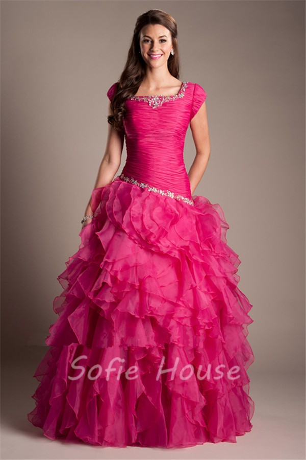 Ball Gown Square Neck Hot Pink Organza Ruffle Modest Prom
