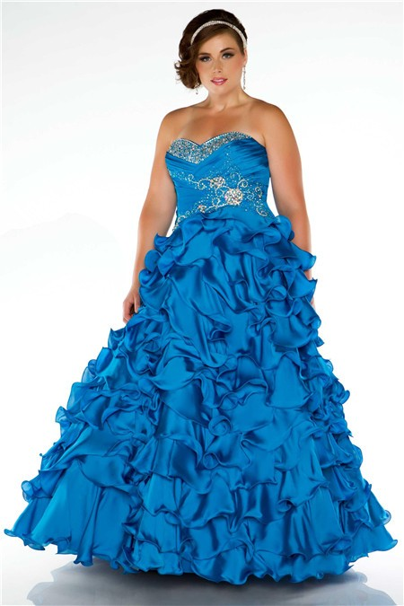 Ball Gown Strapless Blue Ruffles Beaded Plus Size ...