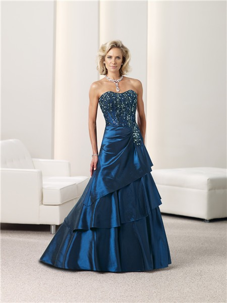 Ball Gown Strapless Navy Blue Taffeta Beaded Mother Of The