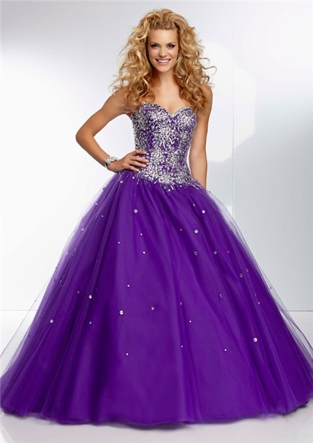 Ball Gown Strapless Sweetheart Long Deep Purple Tulle