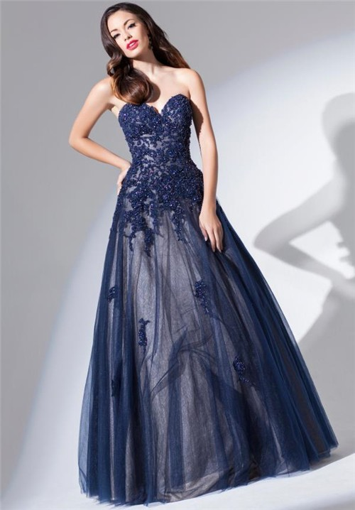 Ball Gown Strapless Sweetheart Long Navy Blue Tulle Lace